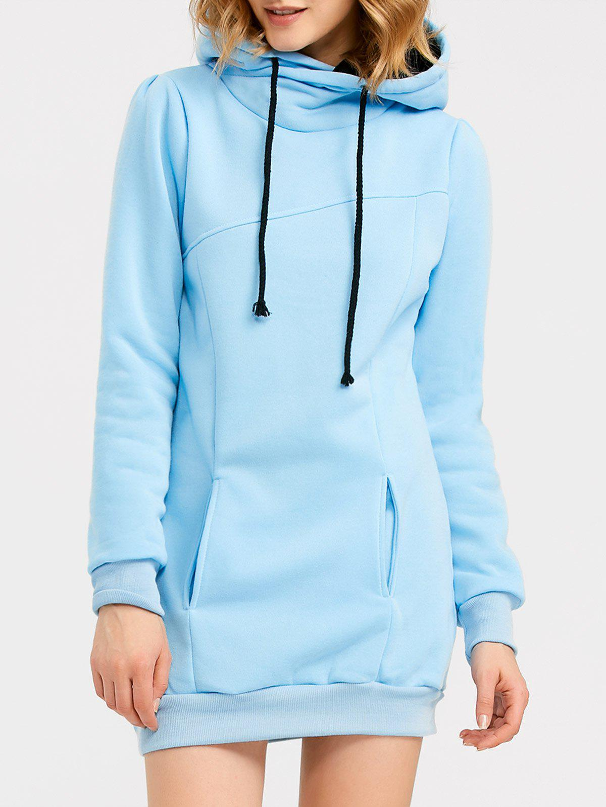 Candy Color Hooded Pullover HoodieWOMEN<br><br>Size: M; Color: LIGHT BLUE; Material: Spandex; Shirt Length: Long; Sleeve Length: Full; Style: Streetwear; Pattern Style: Solid; Season: Fall,Spring; Weight: 0.455kg; Package Contents: 1 x Hoodie;