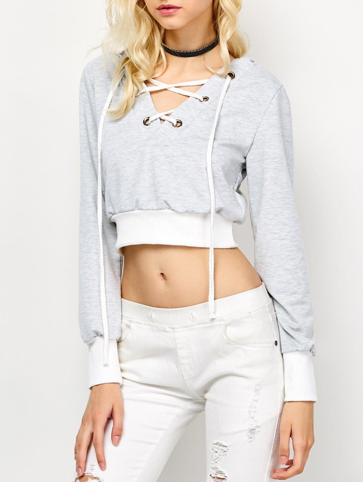 Fashion Casual Lace Up Cropped Hoodie