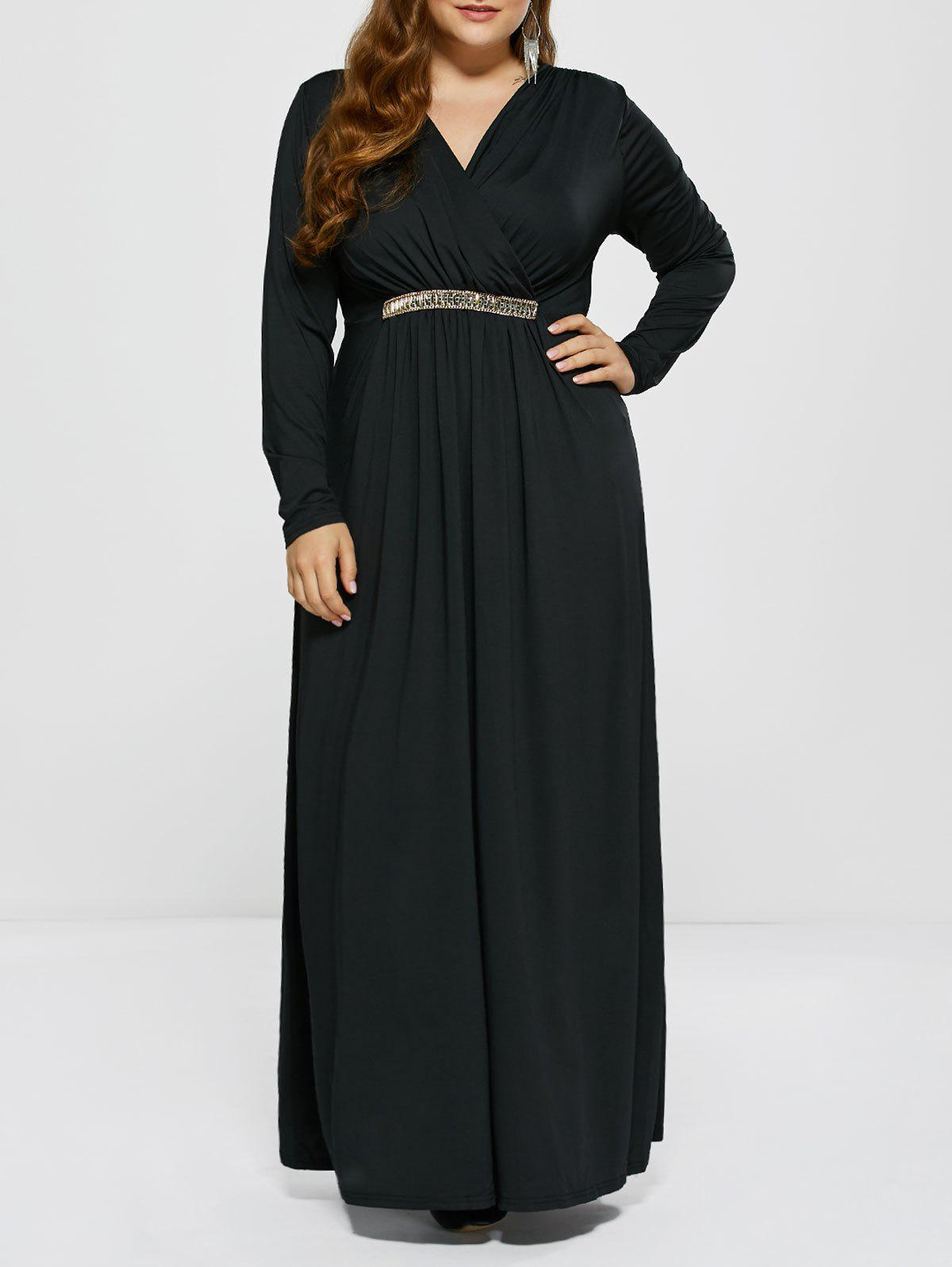 Plus Size Maxi Surplice Long Sleeve Prom DressWOMEN<br><br>Size: 2XL; Color: BLACK; Style: Club; Material: Polyester; Silhouette: A-Line; Dresses Length: Floor-Length; Neckline: V-Neck; Sleeve Length: Long Sleeves; Pattern Type: Solid; With Belt: No; Season: Fall,Spring; Weight: 0.477kg; Package Contents: 1 x Dress;