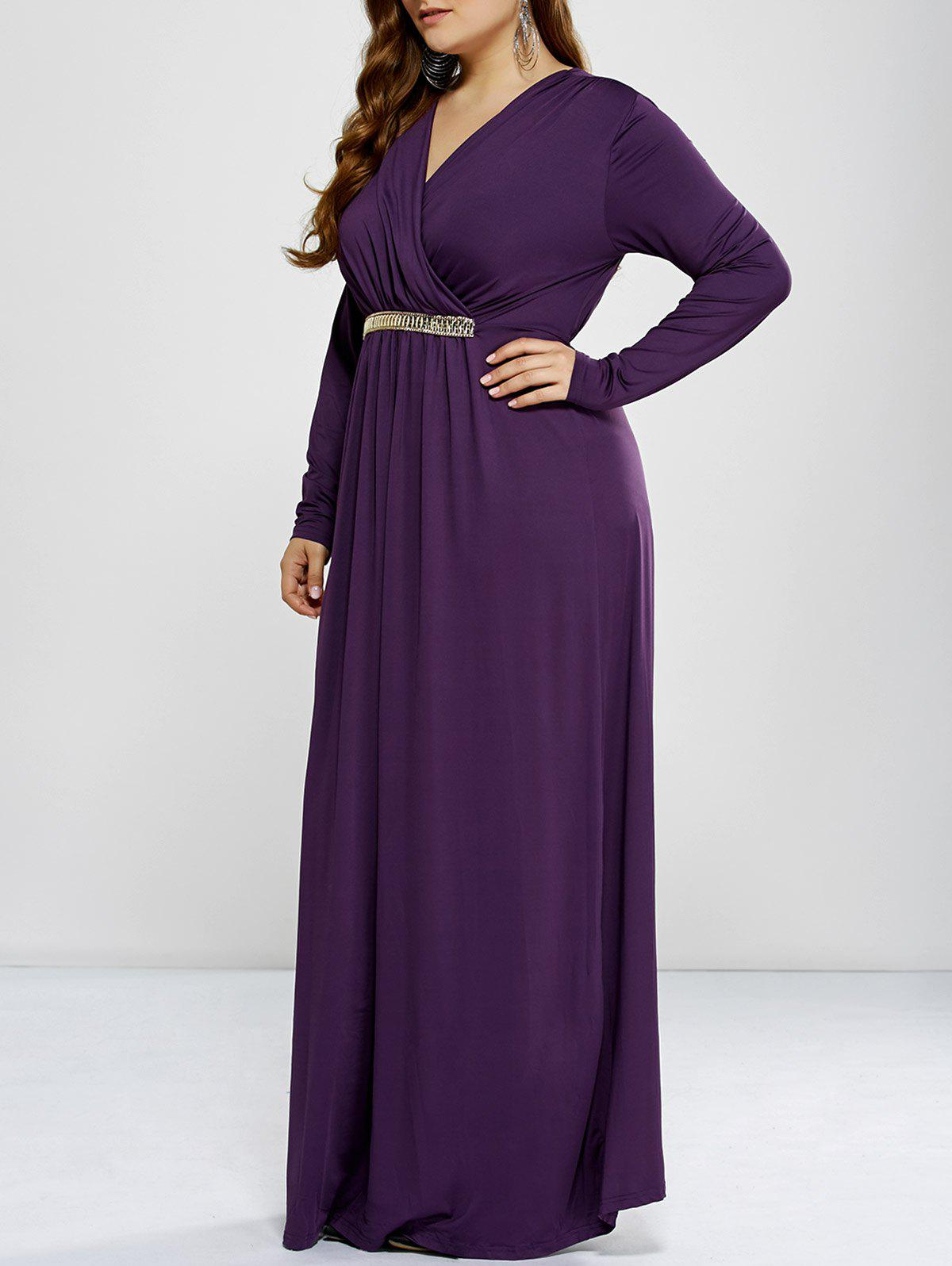 Plus Size Maxi Surplice Long Sleeve Prom DressWOMEN<br><br>Size: 2XL; Color: PURPLE; Style: Club; Material: Polyester; Silhouette: A-Line; Dresses Length: Floor-Length; Neckline: V-Neck; Sleeve Length: Long Sleeves; Pattern Type: Solid; With Belt: No; Season: Fall,Spring; Weight: 0.477kg; Package Contents: 1 x Dress;