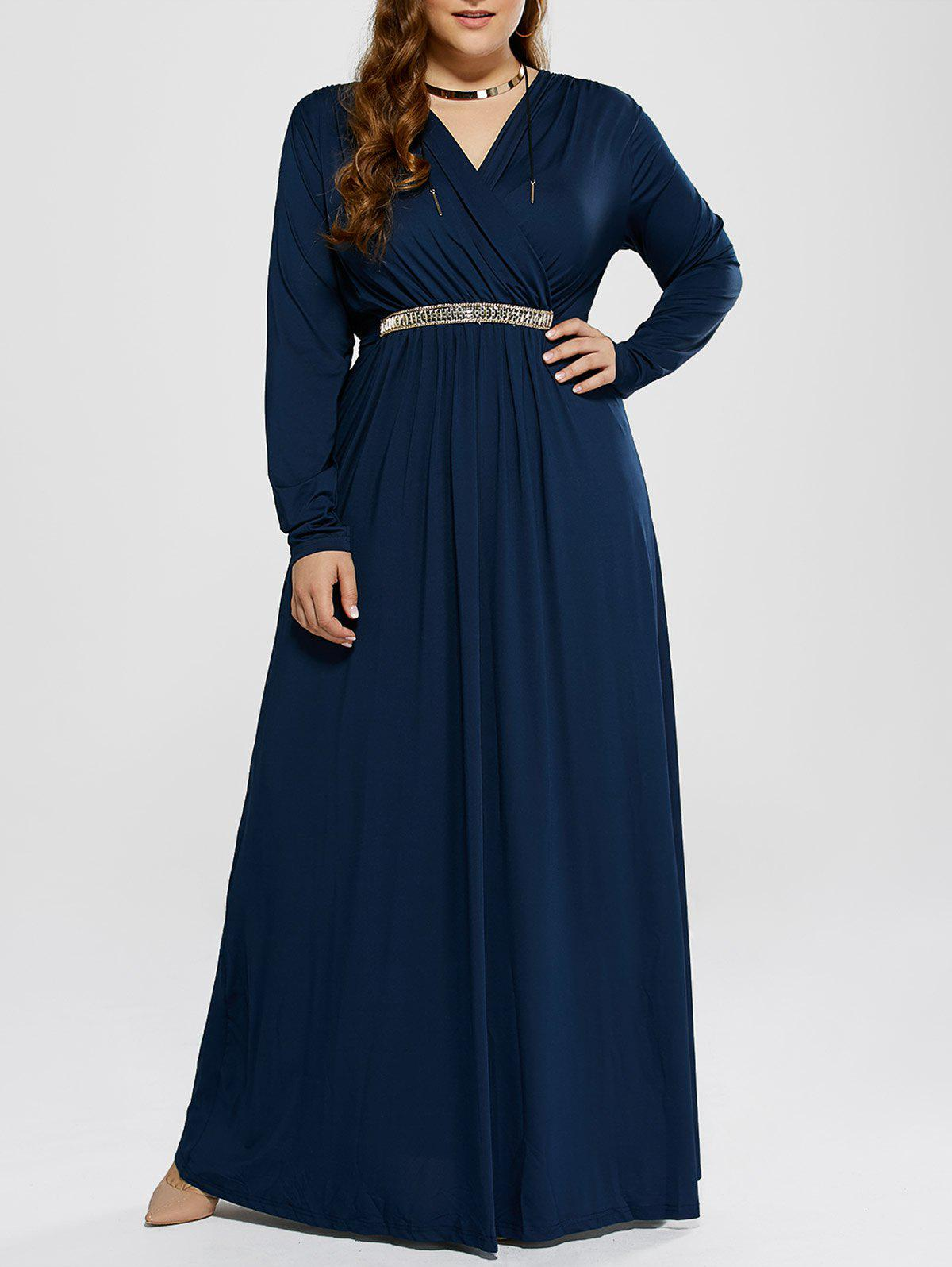 Plus Size Maxi Surplice Long Sleeve Prom DressWOMEN<br><br>Size: 3XL; Color: DEEP BLUE; Style: Club; Material: Polyester; Silhouette: A-Line; Dresses Length: Floor-Length; Neckline: V-Neck; Sleeve Length: Long Sleeves; Pattern Type: Solid; With Belt: No; Season: Fall,Spring; Weight: 0.477kg; Package Contents: 1 x Dress;