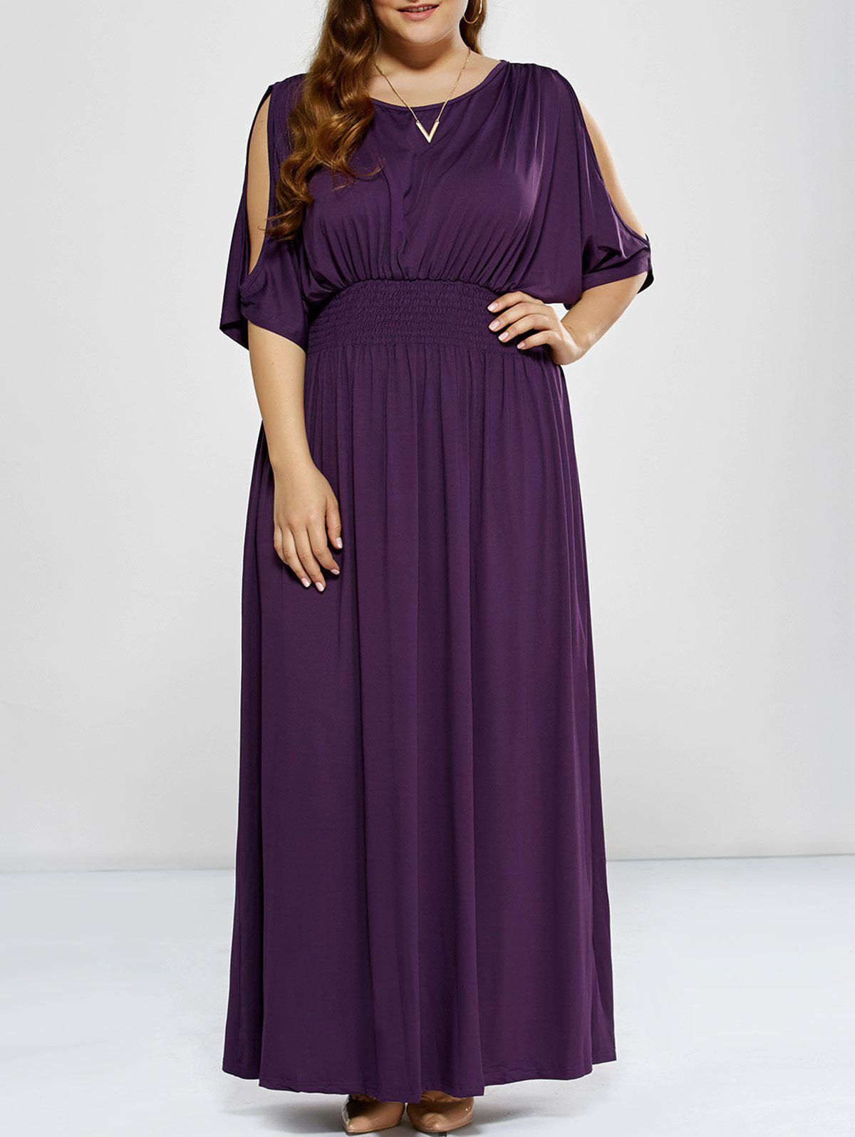 Plus Size Long Cold Shoulder Maxi Prom DressWOMEN<br><br>Size: 2XL; Color: PURPLE; Style: Casual; Material: Polyester; Silhouette: A-Line; Dresses Length: Floor-Length; Neckline: Round Collar; Sleeve Length: 3/4 Length Sleeves; Pattern Type: Solid; With Belt: No; Season: Fall,Spring; Weight: 0.523kg; Package Contents: 1 x Dress;