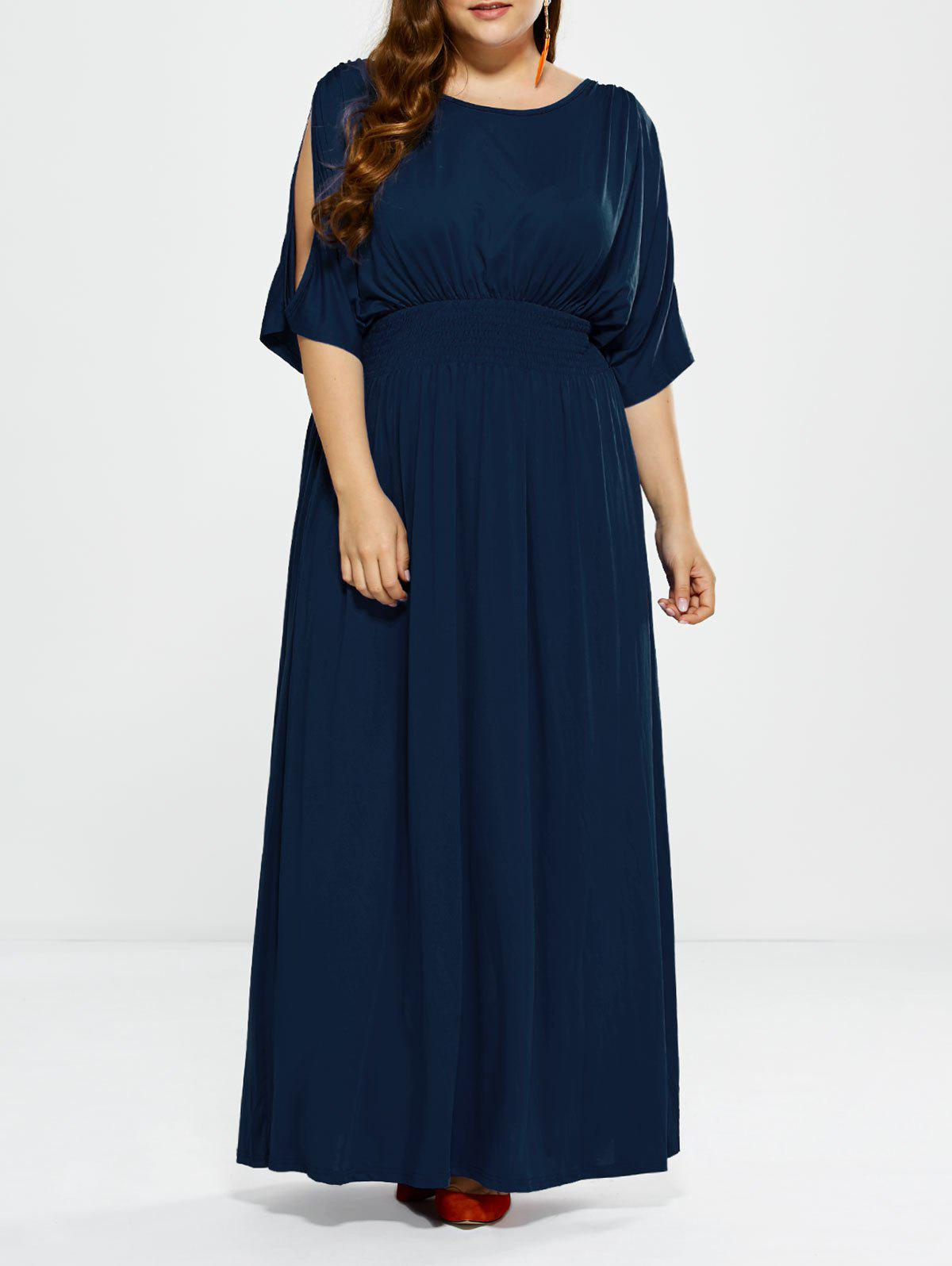 Plus Size Long Cold Shoulder Maxi Prom DressWOMEN<br><br>Size: 2XL; Color: DEEP BLUE; Style: Casual; Material: Polyester; Silhouette: A-Line; Dresses Length: Floor-Length; Neckline: Round Collar; Sleeve Length: 3/4 Length Sleeves; Pattern Type: Solid; With Belt: No; Season: Fall,Spring; Weight: 0.523kg; Package Contents: 1 x Dress;