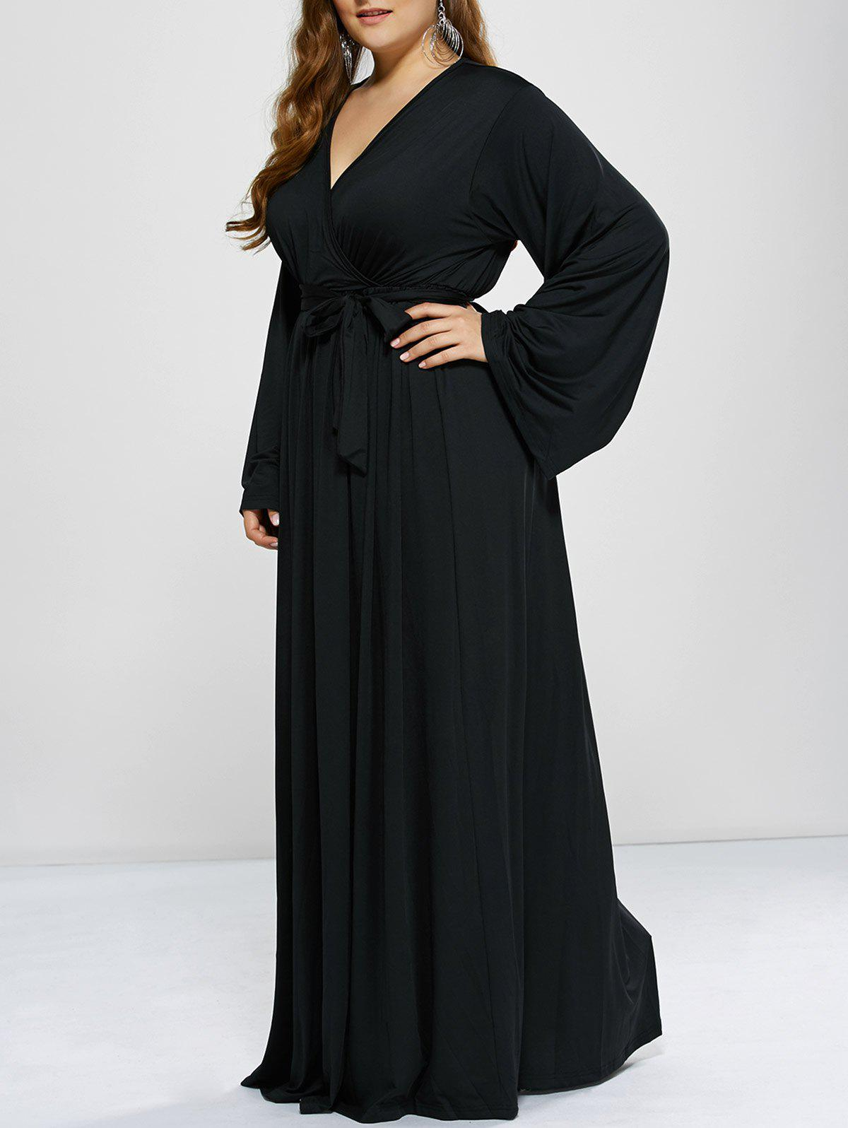 Floor Length Empire Waist A Line Formal Maxi Prom Evening DressWOMEN<br><br>Size: 3XL; Color: BLACK; Style: Casual; Material: Polyester; Silhouette: A-Line; Dresses Length: Floor-Length; Neckline: Plunging Neck; Sleeve Length: Long Sleeves; Pattern Type: Solid; With Belt: No; Season: Fall,Spring; Weight: 0.503kg; Package Contents: 1 x Dress;