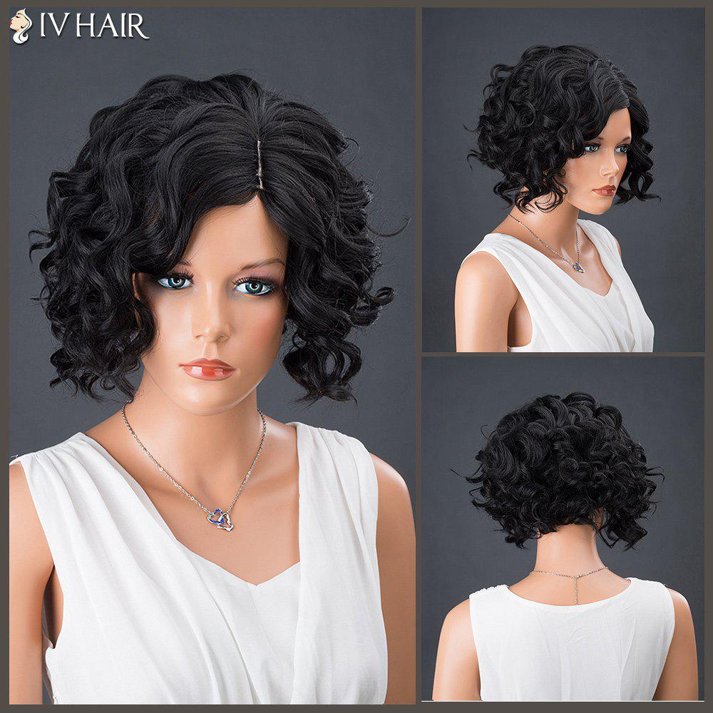 Trendy Short Side Parting Curly Shaggy Siv Human Hair Wig