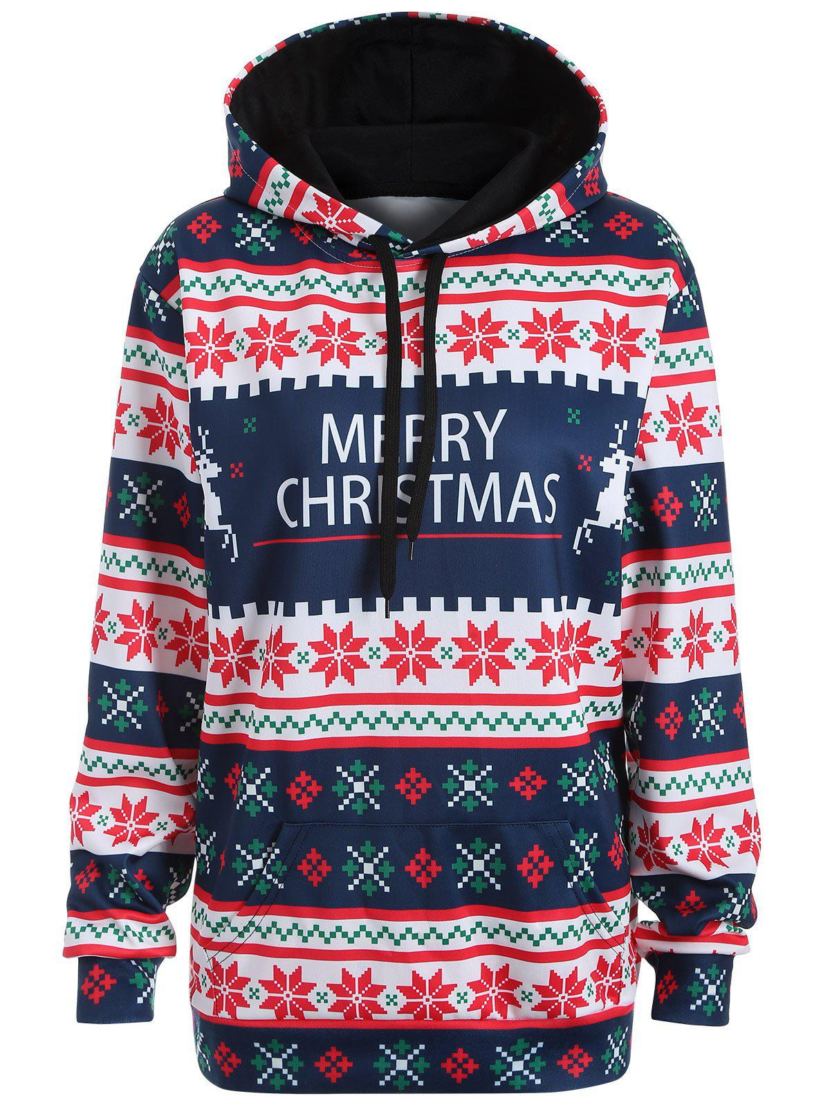 Plus Size Merry Christmas Snowflake Patterned HoodiesWOMEN<br><br>Size: 2XL; Color: PURPLISH BLUE; Material: Polyester; Shirt Length: Long; Sleeve Length: Full; Style: Casual; Pattern Style: Animal; Season: Fall,Spring; Weight: 0.234kg; Package Contents: 1 x Hoodie;