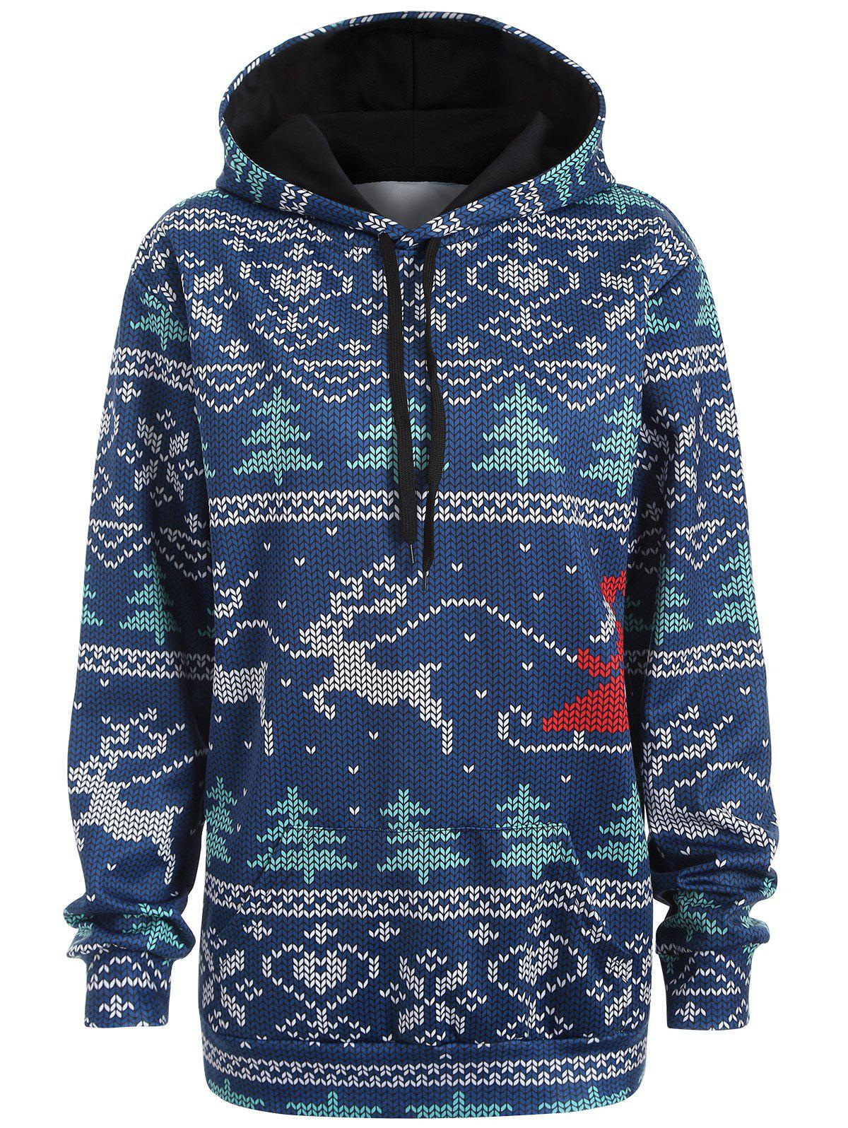 Plus Size Christmas Drawstring Kangaroo Pocket Patterned HoodiesWOMEN<br><br>Size: 3XL; Color: NAVY BLUE; Material: Polyester; Shirt Length: Long; Sleeve Length: Full; Style: Casual; Pattern Style: Plant; Season: Fall,Spring; Weight: 0.419kg; Package Contents: 1 x Hoodie;