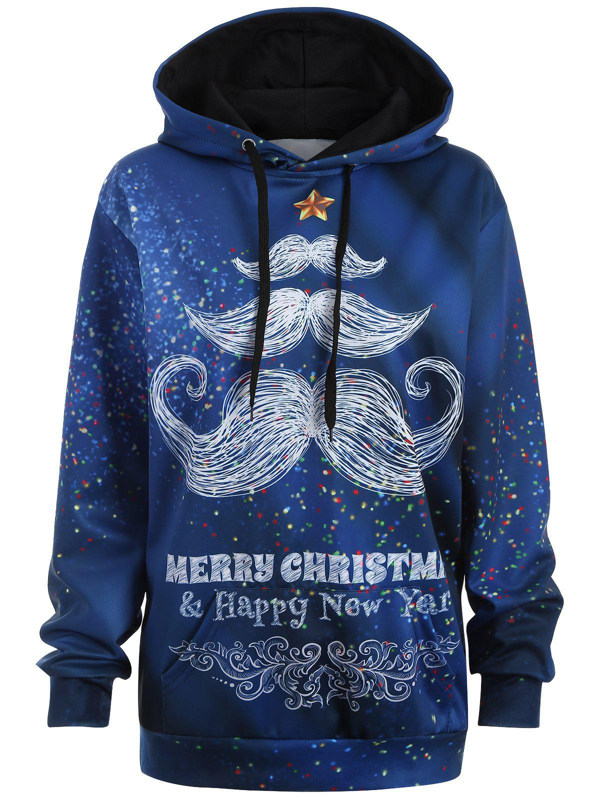 Plus Size Merry Christmas Mustache HoodieWOMEN<br><br>Size: 2XL; Color: BLUE; Material: Polyester; Shirt Length: Long; Sleeve Length: Full; Style: Casual; Pattern Style: Letter; Season: Fall,Spring; Weight: 0.445kg; Package Contents: 1 x Hoodie;