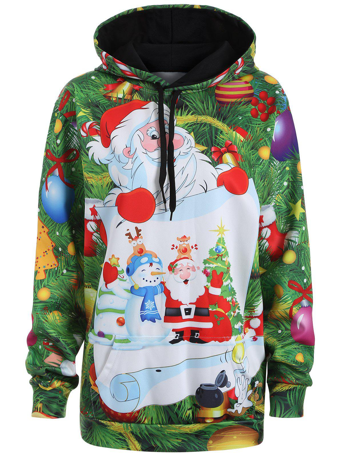 Plus Size Santa Claus Christmas Drawstring Patterned HoodiesWOMEN<br><br>Size: 3XL; Color: GRASS GREEN; Material: Polyester; Shirt Length: Long; Sleeve Length: Full; Style: Casual; Pattern Style: Figure; Season: Fall,Spring; Weight: 0.570kg; Package Contents: 1 x Hoodie;