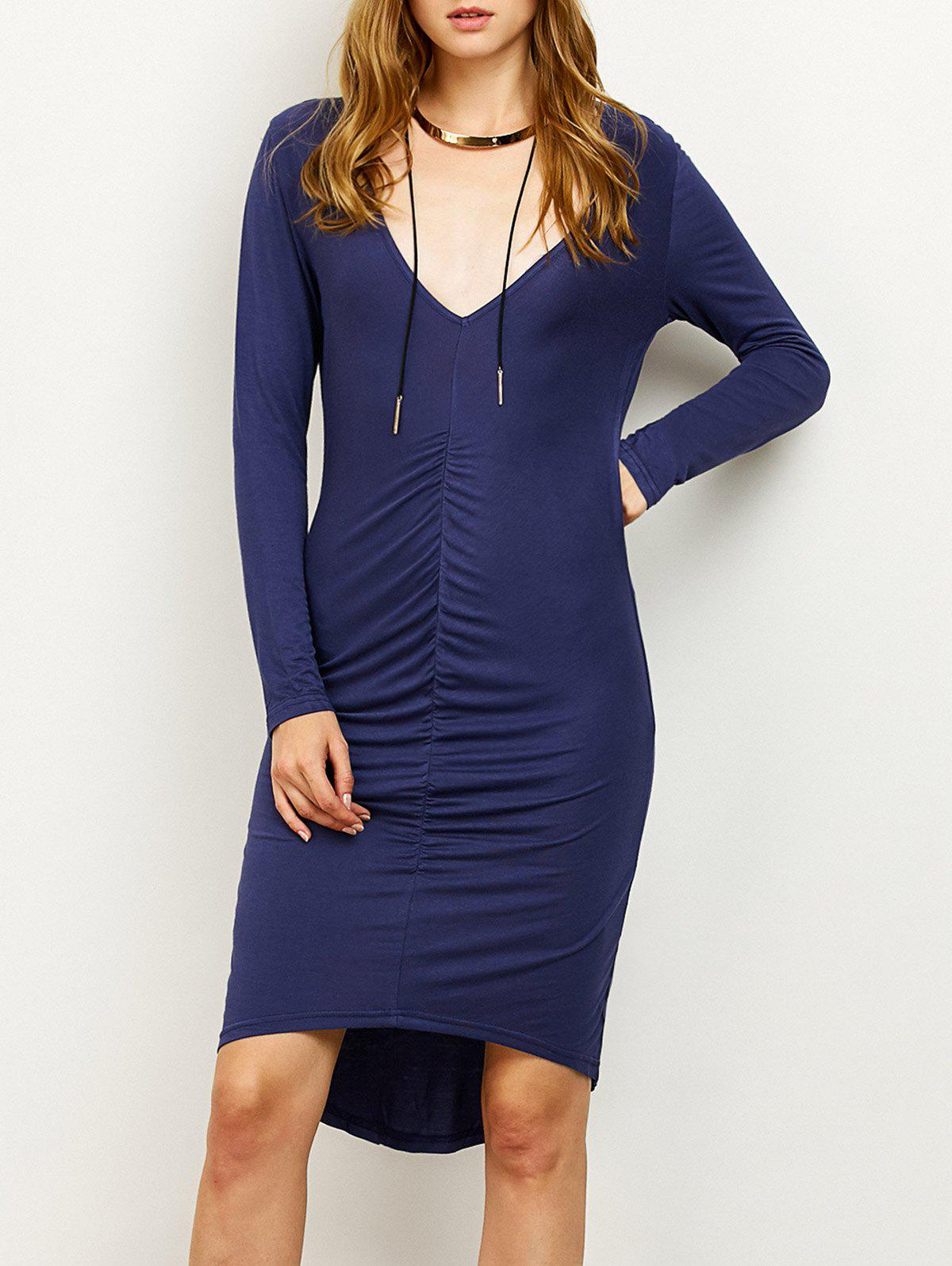 New High-Low Ruched Plunging Neck Pencil Dress