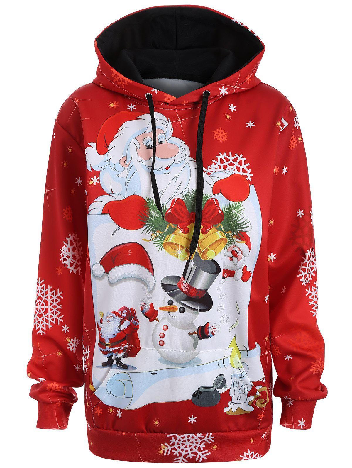 Christmas Plus Size Snowman Kangaroo Pocket HoodieWOMEN<br><br>Size: L; Color: RED; Material: Polyester; Shirt Length: Long; Sleeve Length: Full; Style: Casual; Pattern Style: Figure; Season: Fall,Spring; Weight: 0.3700kg; Package Contents: 1 x Hoodie;