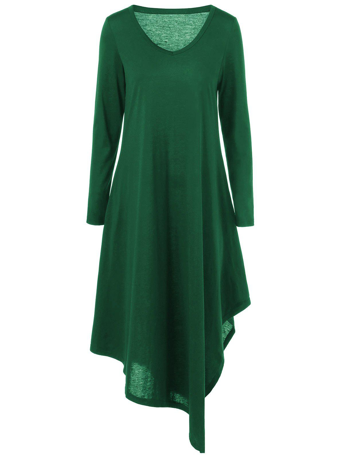 Asymmetrical Long Sleeved Tee Shirt Maxi DressWOMEN<br><br>Size: 2XL; Color: GREEN; Style: Casual; Material: Polyester,Spandex; Silhouette: Asymmetrical; Dresses Length: Ankle-Length; Neckline: V-Neck; Sleeve Length: Long Sleeves; Pattern Type: Solid; With Belt: No; Season: Fall,Spring; Weight: 0.4200kg; Package Contents: 1 x Dress;