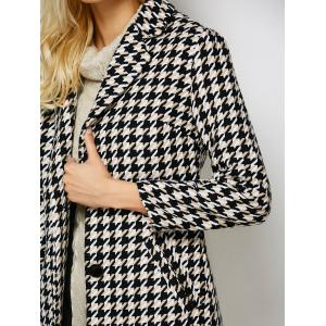 Lapel Single Breasted Houndstooth Coat - BLACK L