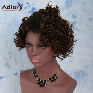 Fashion Black Mixed Brown Synthetic Fluffy Short Curly Capless Wig For Women - BLACK/BROWN