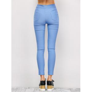 Ripped High Waist Pencil Jeans - LIGHT BLUE L