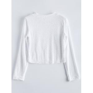 Fuzzy Cropped High Neck T-Shirt -