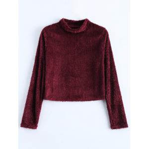 Fuzzy Cropped High Neck T-Shirt - Wine Red - L