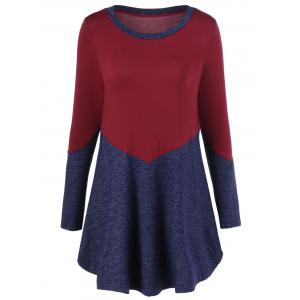 Patchwork Heather T-Shirt - Red - M