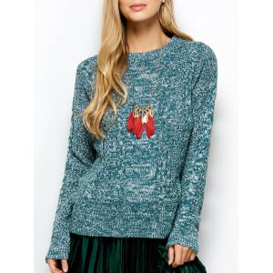 Cable Knit Marled Sweater - Turquoise - One Size