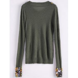 V Neck Sequins Tunic Sweater - ARMY GREEN ONE SIZE