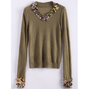 V Neck Sequins Tunic Sweater