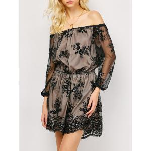 Off The Shoulder Long Sleeve Sequins Romper - Black - M
