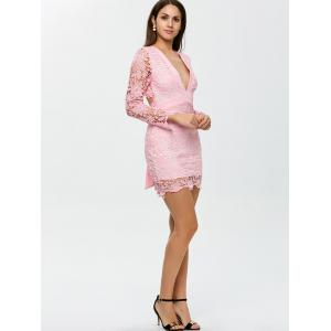 Backless Lace Short Cocktail Dress with Sleeves - PINK XL