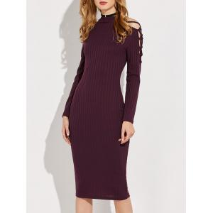 Knitted Criss Cross Ribbed Pencil Dress - Wine Red - S