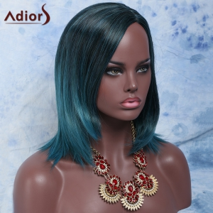 Faddish Short Mixed Color Straight Side Parting Women's Synthetic Hair Wig - COLORMIX