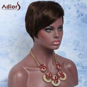 Deep Brown Side Bang Short Fluffy Handsome Women's Synthetic Hair Wig - DEEP BROWN