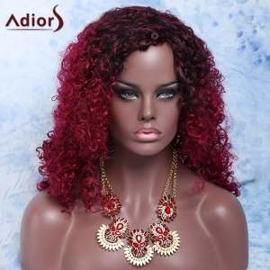 Mixed Color Medium Afro Curly Side Parting Fashion Women's Synthetic Hair Wig - COLORMIX