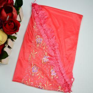 Flower Embroidery Tassel Pendant Edge Triangle Scarf - RED