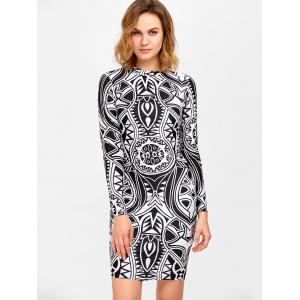 Knee Length Tribe Print Bodycon Dress -