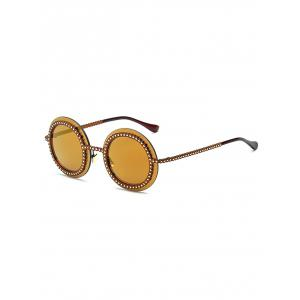 Rivet Gear Shape Insert Round Mirrored Sunglasses - Golden - 37