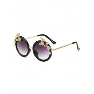 Rhinestone Butterfly Flower Oval Beach Sunglasses - Black