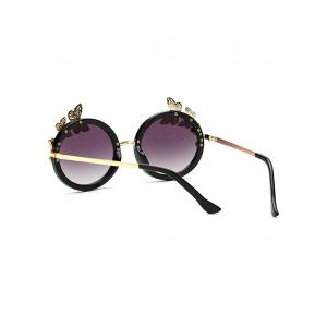 Rhinestone Butterfly Flower Oval Beach Sunglasses -