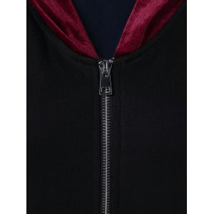 Asymmetrical Two Tone Long Jacket With Hood - BLACK L