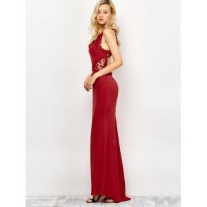 Lace Panel Backless Fitted Long Formal Dress - DEEP RED M
