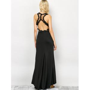 Lace Panel Backless Fitted Long Formal Dress - BLACK L