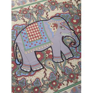 Elephant Floral Print Rectangle Beach Throw -