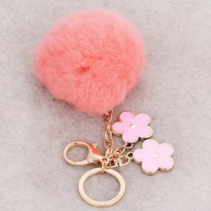 Bag Accessories Fuzzy Pom Ball Keyring -