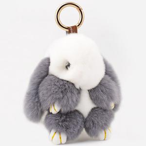 Rabbit Soft Plush Pendant Keyring Bag Keychain - Grey And White - Stomtrooper Style