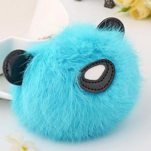 Animal Keychains Fur Bear Ball Bag Hanging Keyring - WINDSOR BLUE