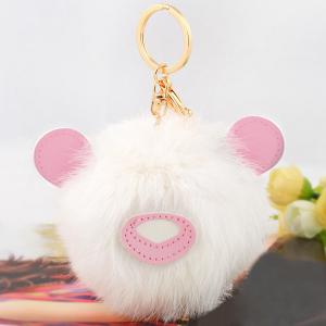 Animal Keychains Fur Bear Ball Bag Hanging Keyring - Pink And White - Style 4