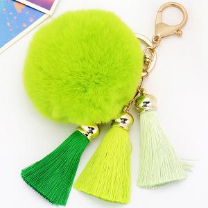 Bag Keychain Soft Flush Pom Ball Keyring With Tassel - Green - Stomtrooper Style