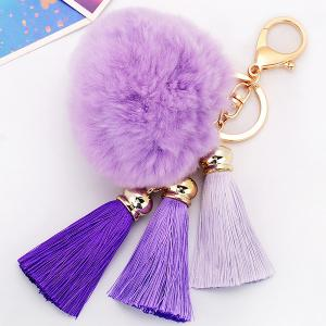 Bag Keychain Soft Flush Pom Ball Keyring With Tassel - Light Purple