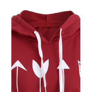 Plus Size Arrows Print Pullover Hoodie -