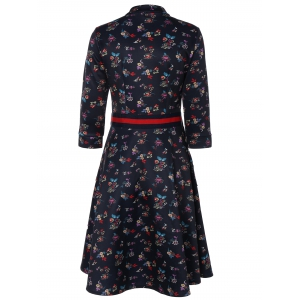 Floral Print Contrast Dress with Pockets -