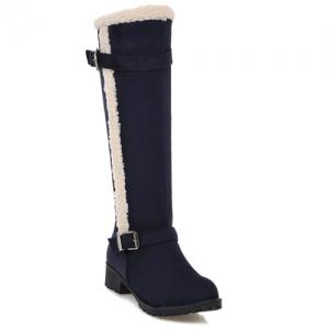 Flat Heel Zipper Double Buckle Boots