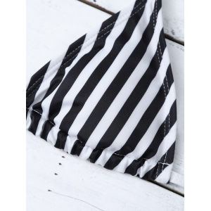 Halter Striped Bikini Set - WHITE AND BLACK S